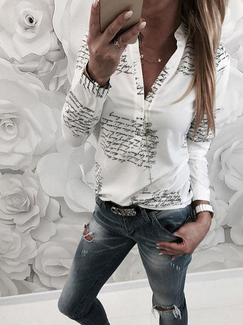 Stand Collar Print Long Sleeve Casual Blouses UB194