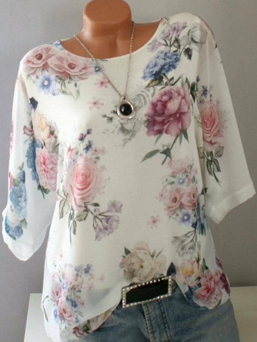 Pink Round Neck Shift Floral Print Casual Blouses UB114