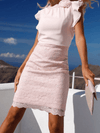 Pink Above Knee Printed Round Neck Sheath Party Dresses UMD512