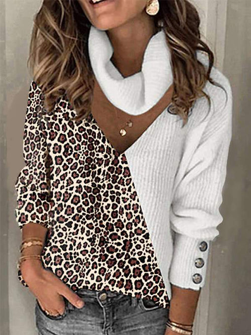 Hollow Out Leopard Deep V-Neck Casual Sweaters USW51