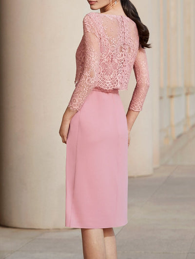 Two-piece Sheath Chiffon Lace Long Sleeve Knee Length Cocktail Party Wedding Mother's Dresses UPD215