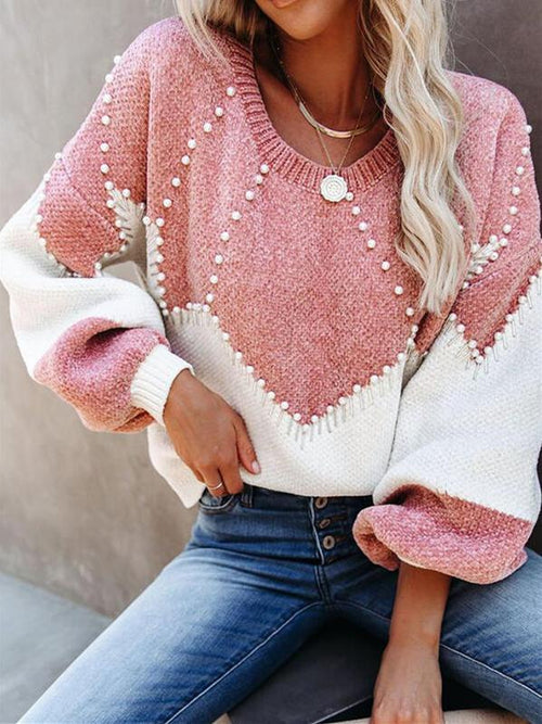 Color Block Beaded Round Neck Casual Sweaters USW75