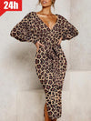 Retro Deep V Leopard Print Belted Split Batwing Sleeves Midi Dresses UD207
