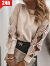 Exclusive Solid Pearl Round Neck Casual Sweaters UEX1