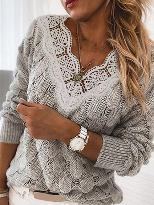 Lace V-Neck Casual Sweaters UPSW27