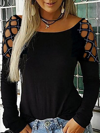 Plus Size Long Sleeve Rhinestone Cut Out Hollow T-shirt Blouse UB401