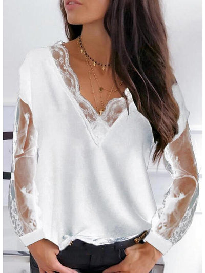 Long Sleeve Lace See Through Mesh V Neck Blouse Tee  UB431