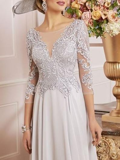 A Line Chiffon Lace 3/4 Length Sleeve Midi Cocktail Party Wedding Mother's Dresses-PreOrder23