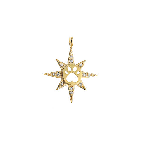 Our Cause for Paws 14k Yellow Gold Diamond Star Charm