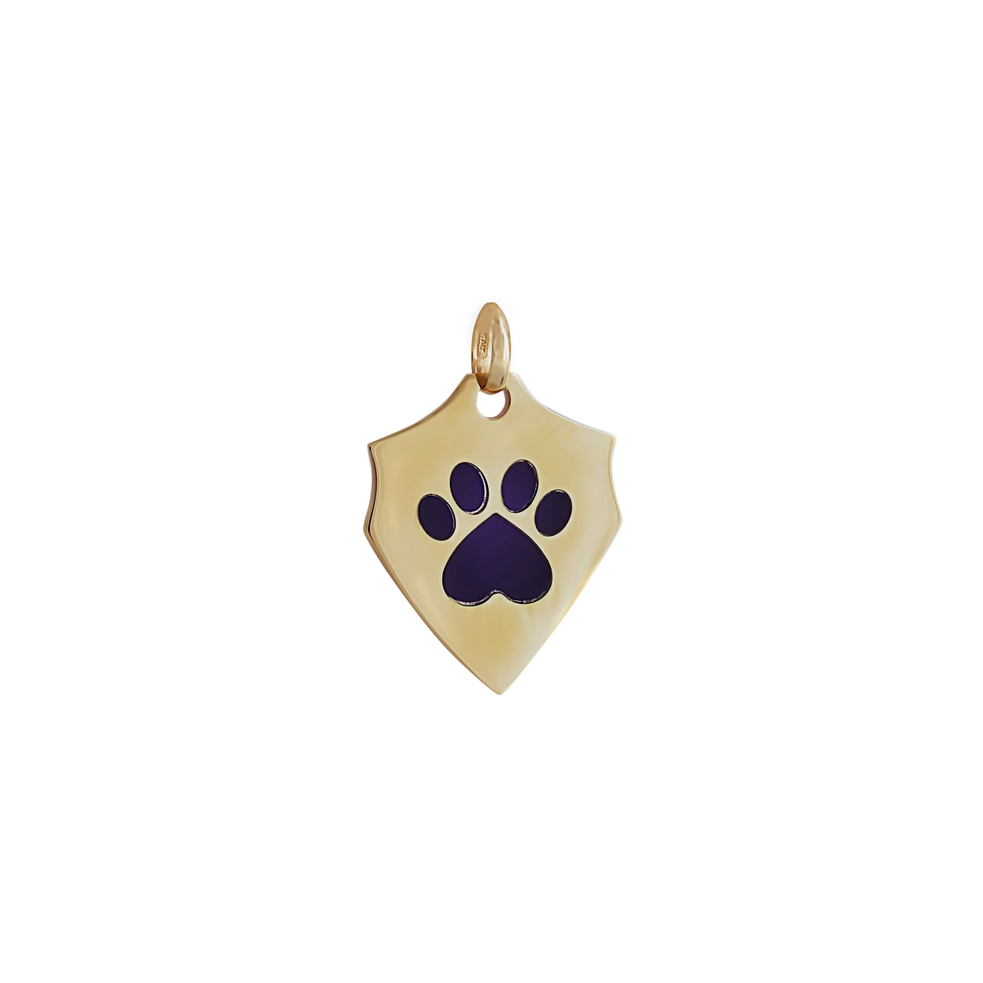 Our Cause for Paws 14k Yellow Gold Shield with Lapis Inlay Paw Charm