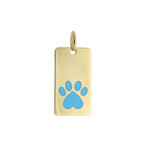 Our Cause for Paws 14k Yellow Gold Turquoise Inlay Paw Dog Tag Charm