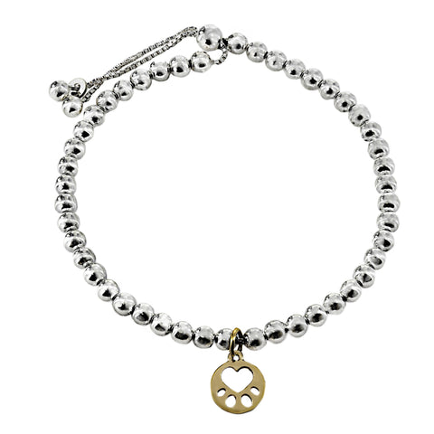 Our Cause for Paws Silver Beaded and Gold Mini Paw Bracelet
