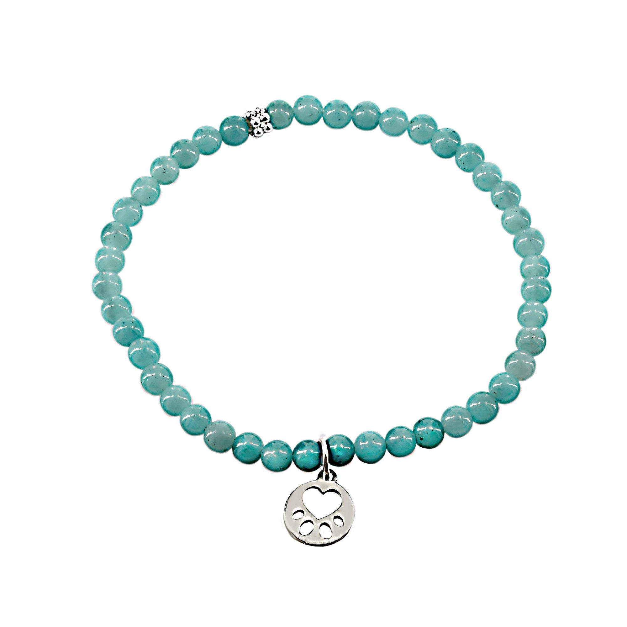 Our Cause for Paws Sterling Silver Mini Paw Amazonite Bead Bracelet