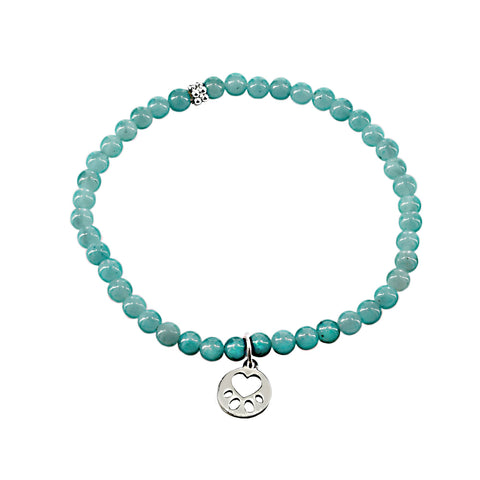 Our Cause for Paws SS Mini Paw Amazonite Bead Bracelet