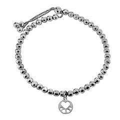 Our Cause for Paws Silver Beaded Mini Paw Bracelet