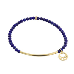 Our Cause for Paws Mini Paw 14k Yellow Gold Bar Bead Bracelet