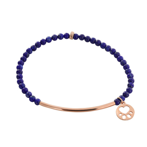Our Cause for Paws 14k Rose Gold Mini Paw Bar Bead Bracelet