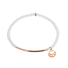Our Cause for Paws 14k Rose Gold Mini Paw Bead Bar Bracelet