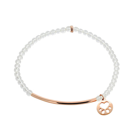 Our Cause for Paws Mini Paw 14k Rose Gold Bar Bead Bracelet