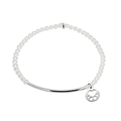 Our Cause for Paws Sterling Silver Mini Paw Bar Bead Bracelet
