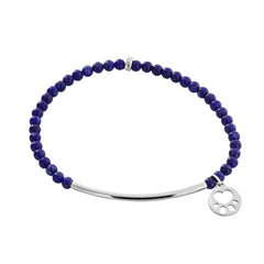 Our Cause for Paws Sterling Silver Mini Paw Bead Bar Bracelet