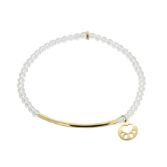 Our Cause for Paws 14k Yellow Gold Mini Paw Bar Bead Bracelet
