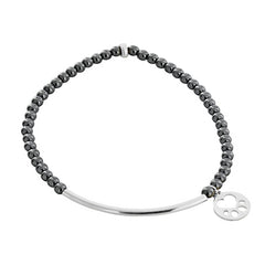 Our Cause for Paws Mini Paw Sterling Silver Bar Bead Bracelet