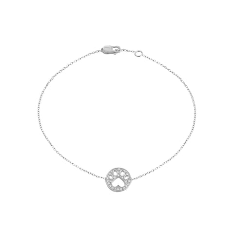 Our Cause for Paws 14k Gold Diamond Mini Paw Bracelet