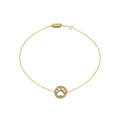 Our Cause for Paws 14k Gold and Diamond Mini Paw Bracelet