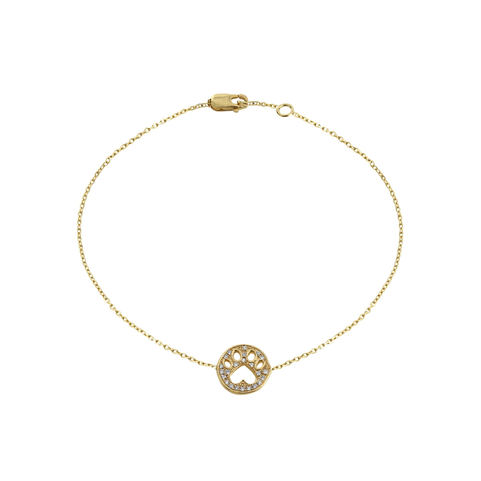 Our Cause for Paws Gold and Diamond Mini Paw Bracelet