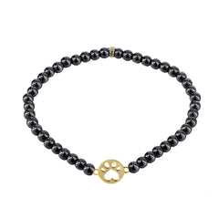 Our Cause for Paws 14k Yellow Gold Mini Paw Bead Bracelet