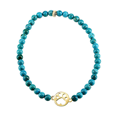 Our Cause for Paws 14k Mini Paw and Bead Bracelet
