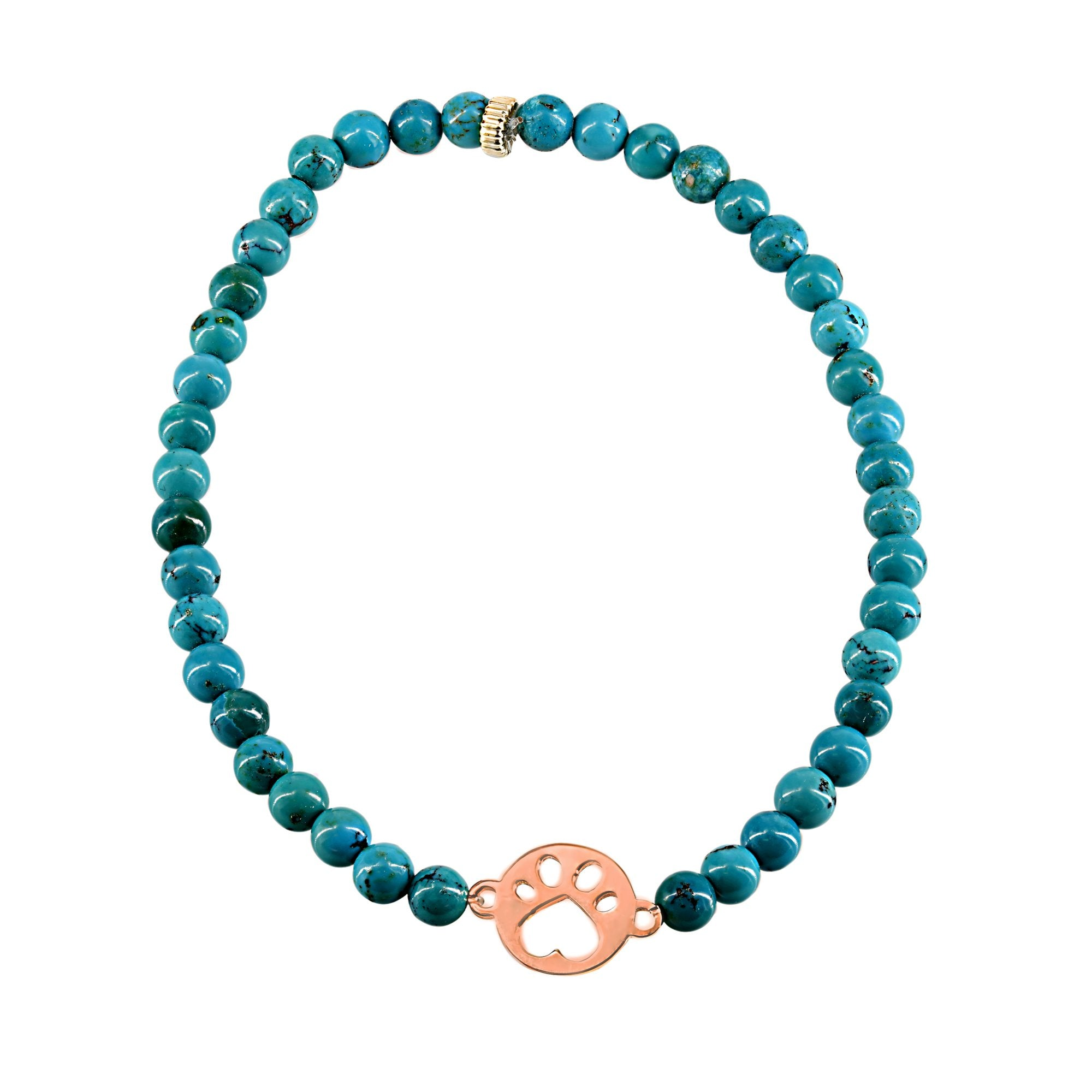 Our Cause for Paws 14k Rose Gold Mini Paw Bead Bracelet