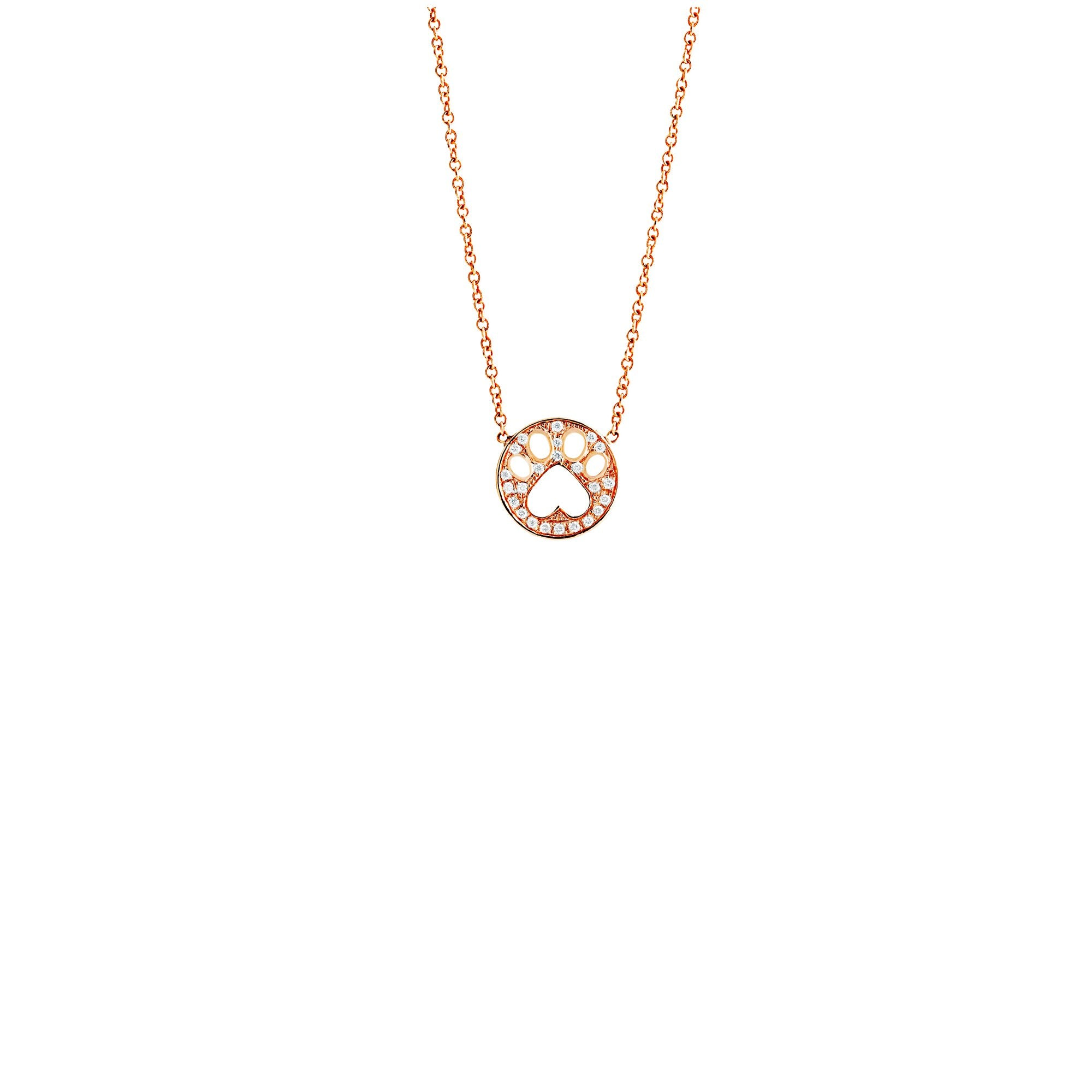 Our Cause for Paws 14k Gold and Diamond Mini Paw Pendant Necklace