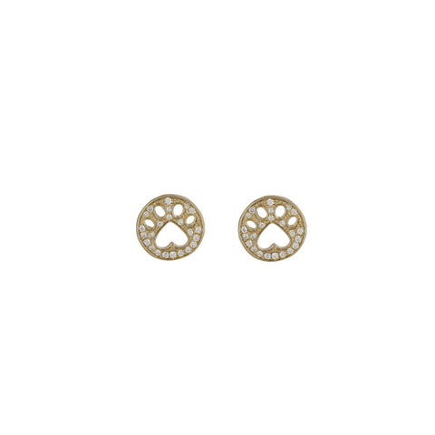 Our Cause For Paws 14k Gold and Diamond Mini Paw Earrings