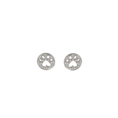 Our Cause For Paws 14k Diamond Mini Paw Earrings