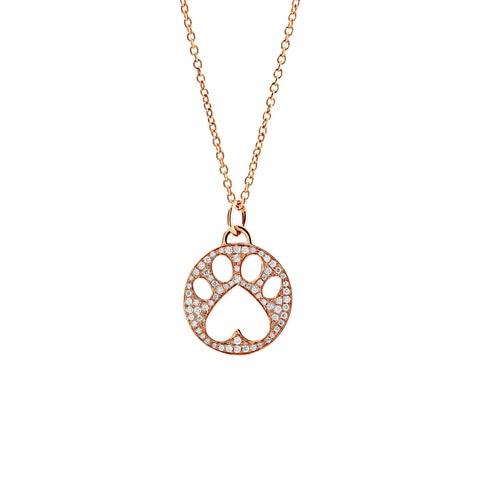 Our Cause for Paws Gold Pave Diamond Paw Charm Pendant Necklace