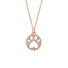 Our Cause for Paws 14k Gold and Pave Diamond Paw Charm Pendant Necklace