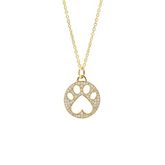 Our Cause for Paws 14k Gold Pave Diamond Paw Charm Pendant Necklace