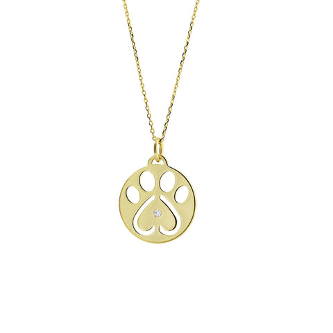 Our Cause for Paws 14k Yellow Gold Paw Charm Pendant