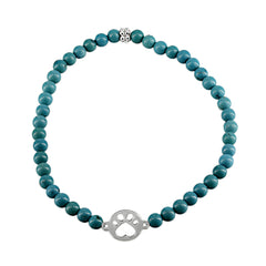 Our Cause for Paws Silver Mini Paw and Bead Bracelet