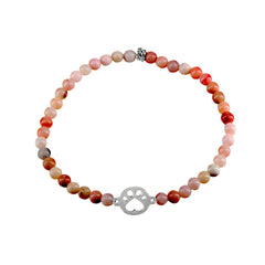 Our Cause for Paws Sterling Silver Mini Paw and Bead Bracelet