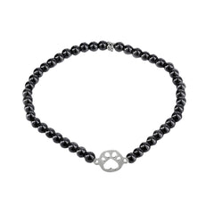 Our Cause for Paws Sterling Silver Mini Paw Bead Bracelet
