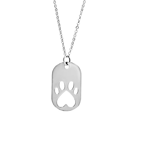 Our Cause for Paws Silver Dog Tag Necklace