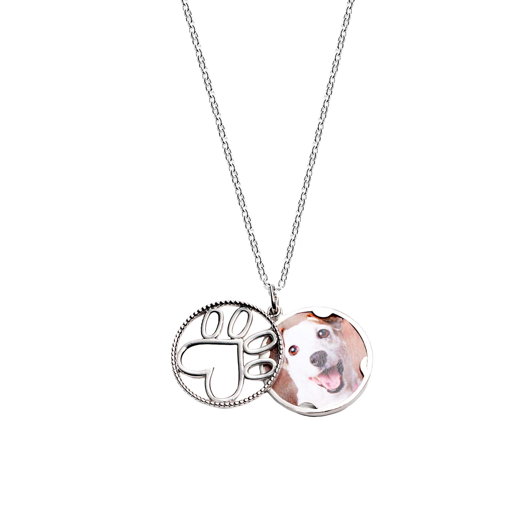 Our Cause for Paws Sterling Silver Open Locket Pendant Necklace