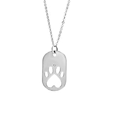 Our Cause for Paws Sterling Silver Dog Tag Necklace