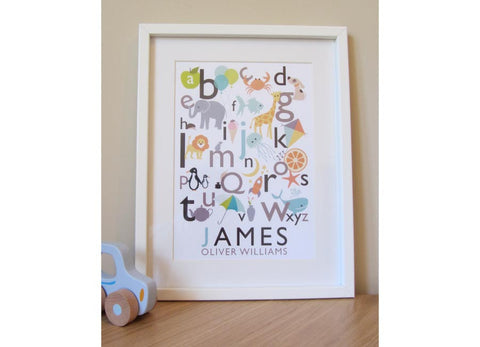Personalised alphabet print illustrating the alphabet and child's name below.