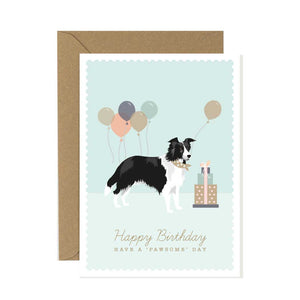 Border Collie Happy Birthday Card