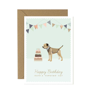 Border Terrier Happy Birthday Card