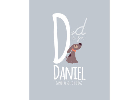 Illustration of an Dog with D is for Dog and personalised childs name